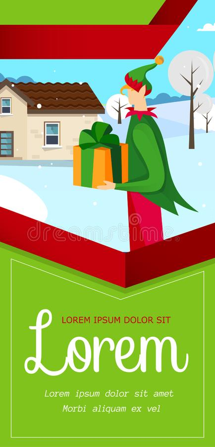 Elfhulp Santa Claus om Gift Feestelijke Vlieger te leveren stock illustratie
