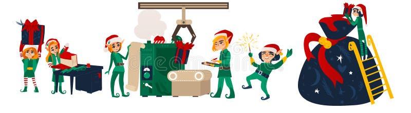 Elfi di Natale che fanno i presente nel gruppo di lavoro di Santa royalty illustrazione gratis