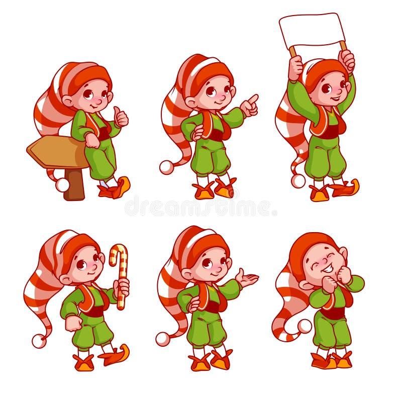 Elfi di Natale con differenti emozioni illustrazione di stock