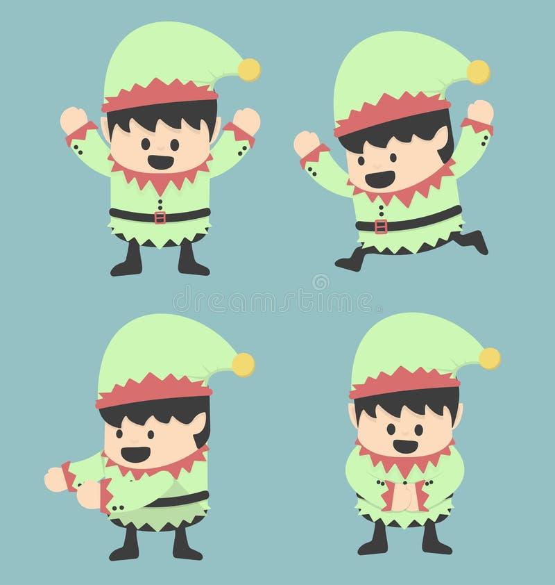 Elfi di Natale e pose differenti illustrazione di stock