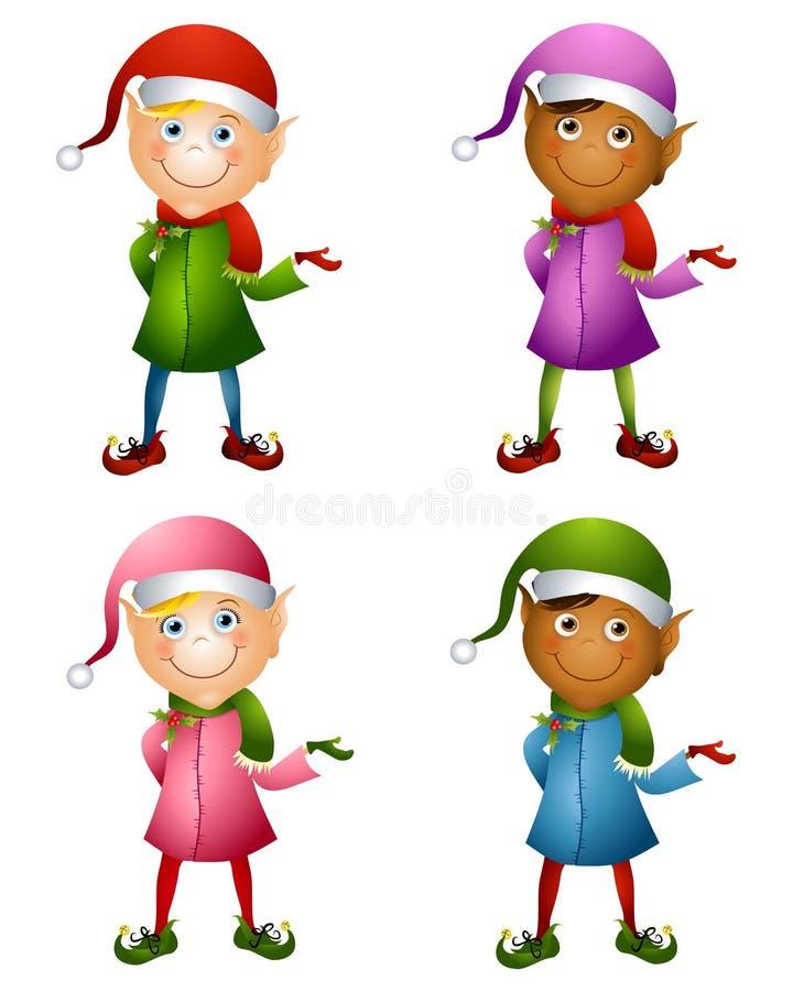 Elfi di natale isolati illustrazione vettoriale