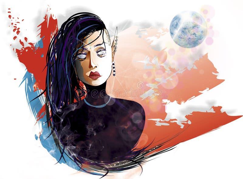 Elfic flicka för glamour vektor illustrationer