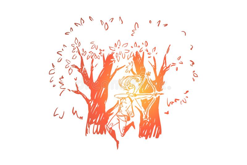 Elfo della foresta con la prua ed il fremito, creatura mitica in legno, giovane arciere elegante, cacciatore immaginario illustrazione vettoriale