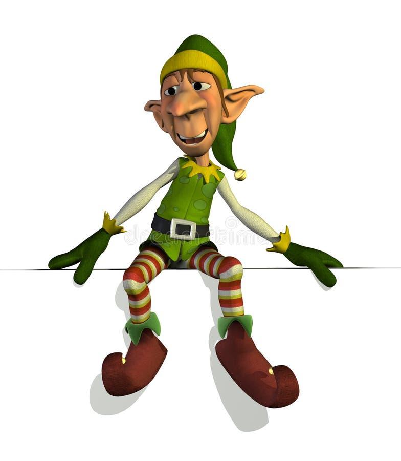 Elfo delle Santa che si siede sul bordo illustrazione di stock