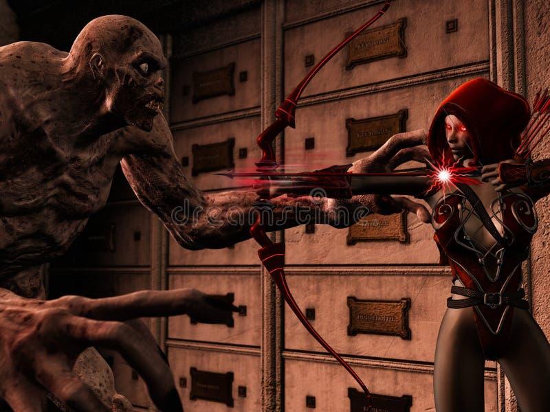 Elfo di Attackig sullo zombie royalty illustrazione gratis