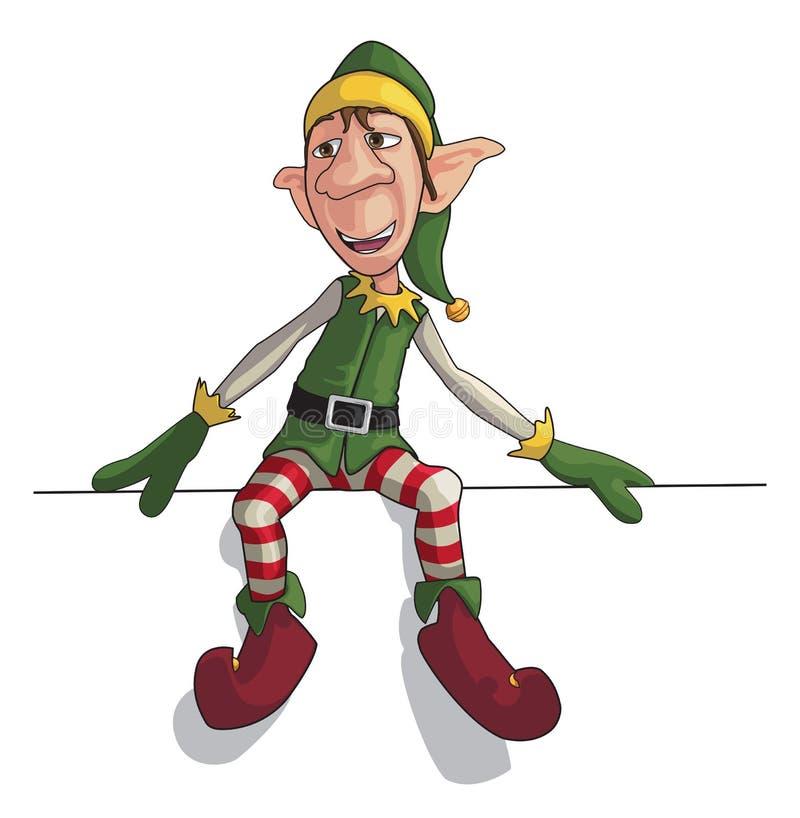 Elfo di natale che si siede sul bordo illustrazione vettoriale