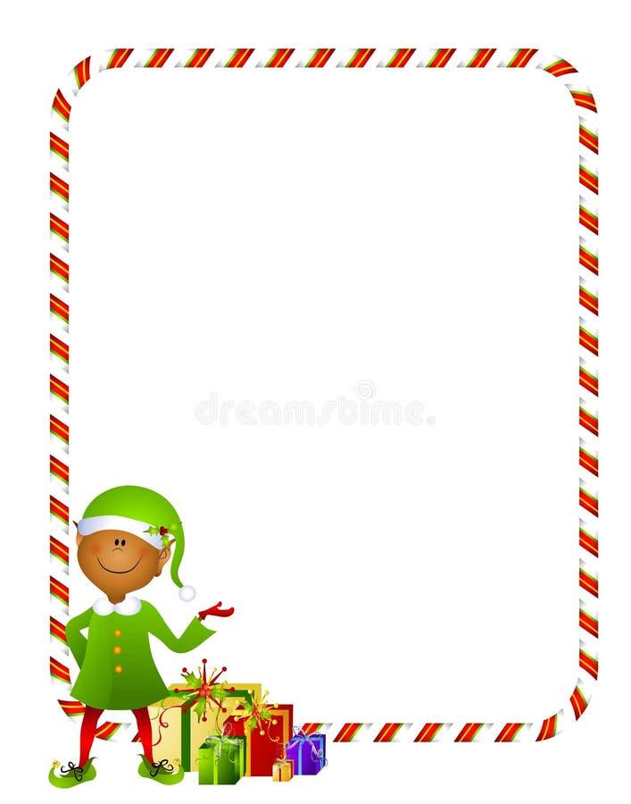 Elfo di natale con il bordo 2 dei regali illustrazione vettoriale