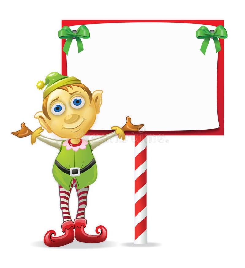 Elfo di natale con il segno illustrazione vettoriale