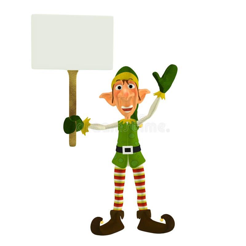 Elfo di natale con il segno royalty illustrazione gratis