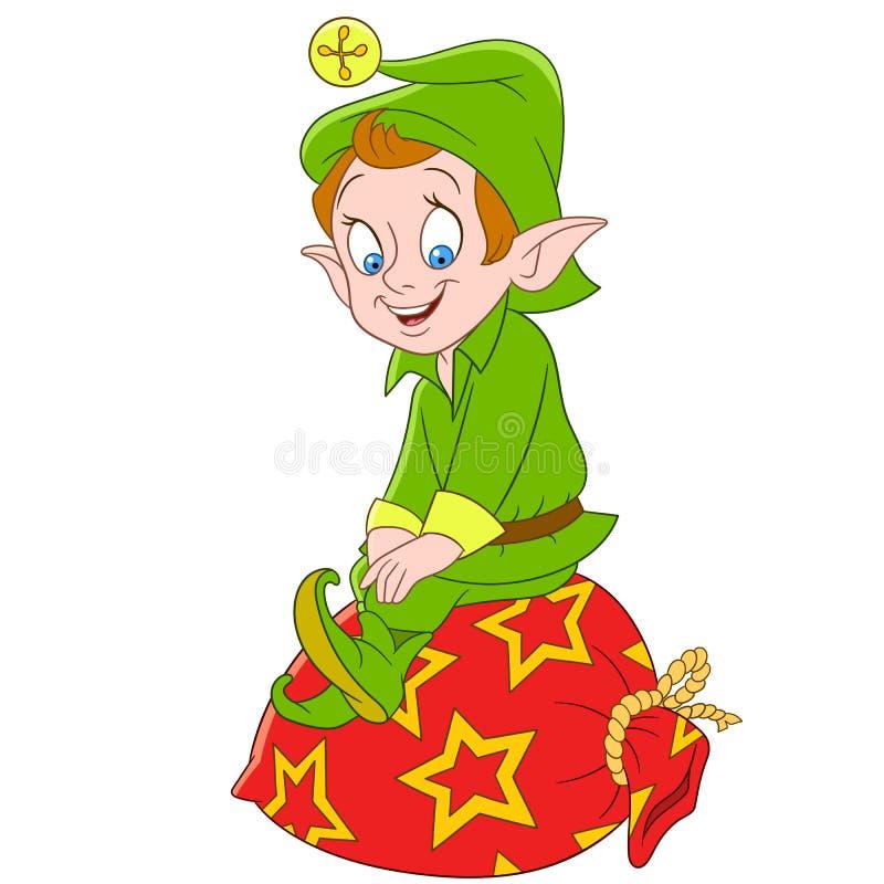 Elfo di natale del fumetto o assistente sveglio del Babbo Natale illustrazione di stock
