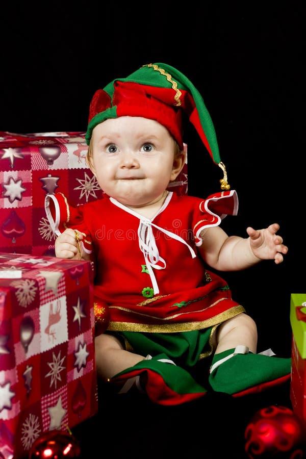 Elfo di Natale della neonata fotografia stock libera da diritti