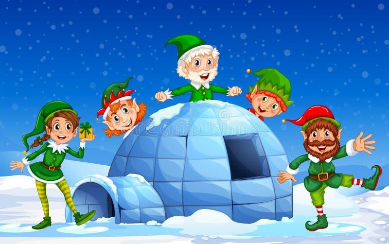 Elfo di Natale nel fondo di inverno illustrazione vettoriale