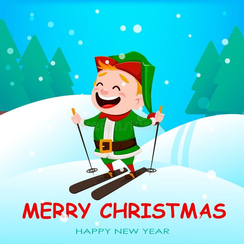 Elfo divertente dell'assistente di Santa Claus illustrazione di stock