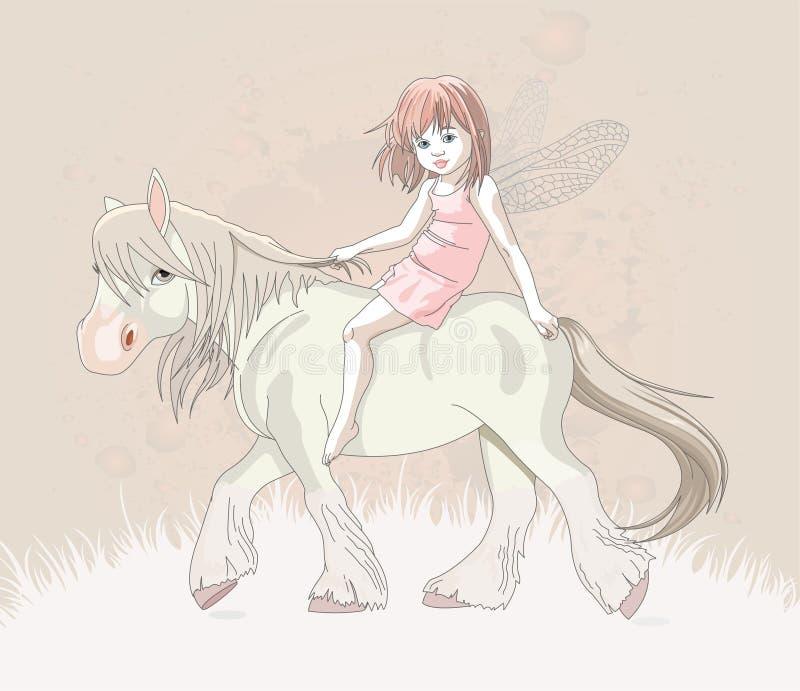 Elfo sul cavallo royalty illustrazione gratis