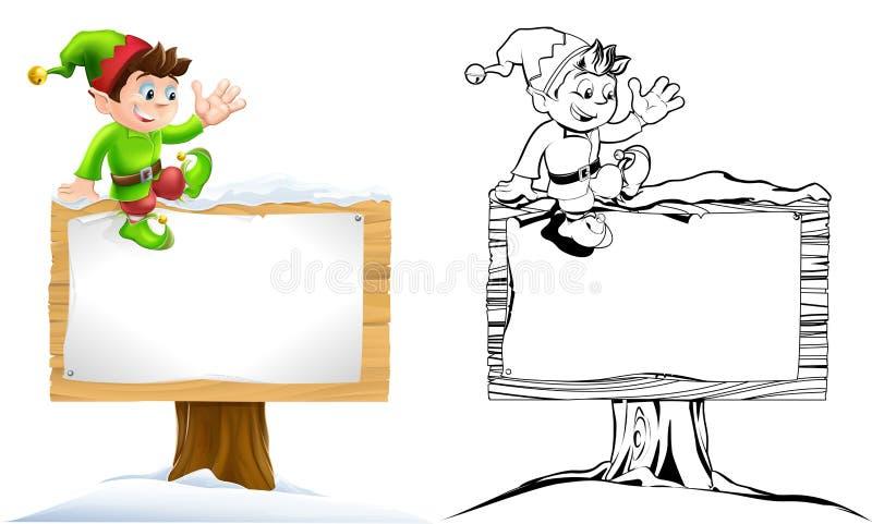 Elfo sul segno dello Snowy royalty illustrazione gratis