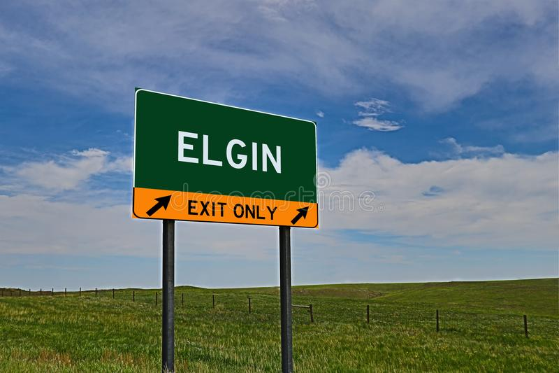 US Highway Exit Sign for Elgin. Elgin `EXIT ONLY` US Highway / Interstate / Motorway Sign stock photos