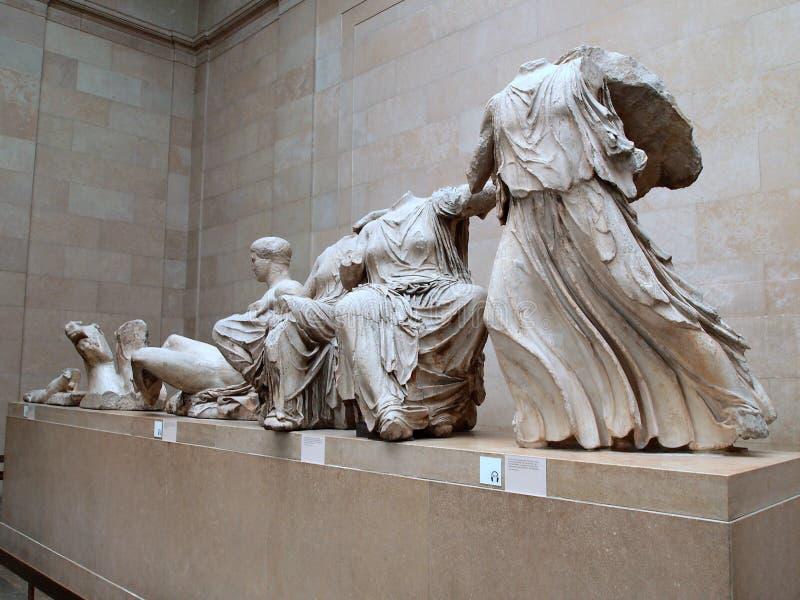 Elgin Marbles, British Museum, Londen, het UK stock afbeelding