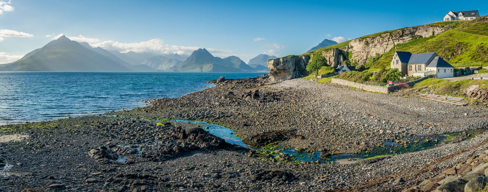 Elgol, village on the shores of Loch Scavaig towards the end of the Strathaird peninsula in the Isle of Skye, in the Scottish High. Elgol is a village on the stock photography