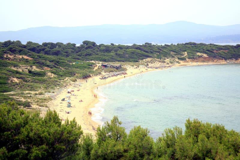 Elia Mantraki plaża, Skiathos, Grecja fotografia stock