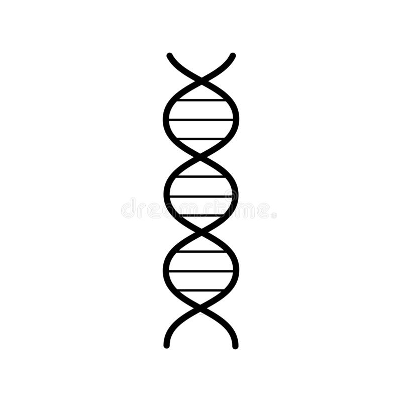Elica astratta farmaceutica medica del gene del DNA, icona in bianco e nero semplice su fondo bianco Illustrazione di vettore illustrazione vettoriale