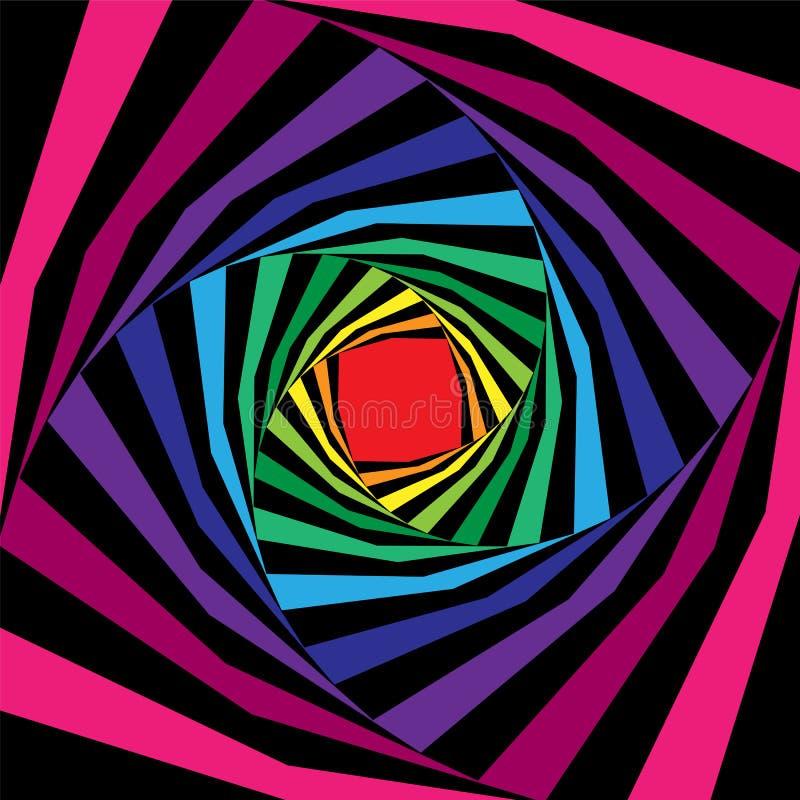Elica a strisce variopinta e nera che si espande dal centro sottragga la priorità bassa Illusione ottica di profondità e di volum illustrazione vettoriale