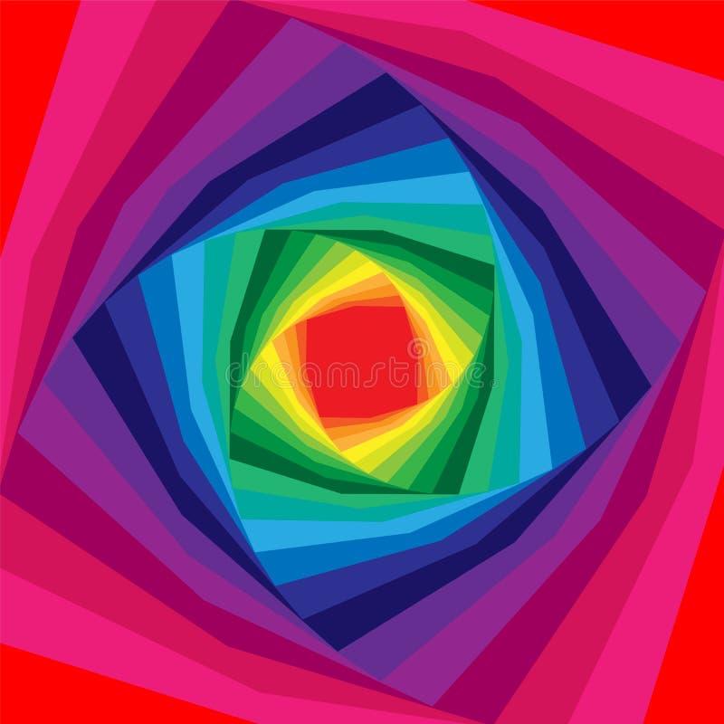 Elica variopinta che si espande dal centro Priorità bassa Iridescent Illusione ottica di profondità e di volume illustrazione di stock