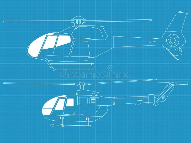 Elicotteri dettagliati illustrazione vettoriale