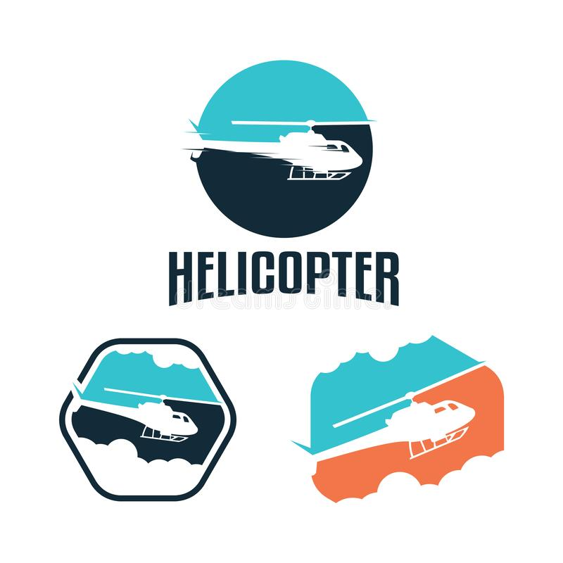 Elicottero Chopper Propeller Logo nella forma di esagono e del cerchio illustrazione vettoriale