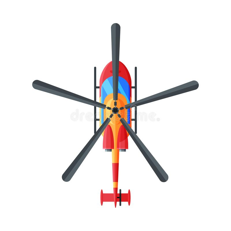 Elicottero civile volante, vista superiore, illustrazione vettoriale trasporto aereo royalty illustrazione gratis
