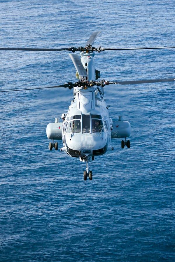 Elicottero del Corpo della Marina di CH-46E fotografia stock libera da diritti