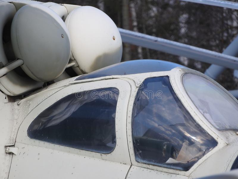 Elicottero, eliche, installazioni ed unità militari per la fucilazione, primo piano fotografie stock libere da diritti