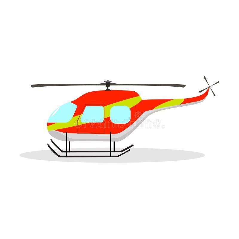 Elicottero rosso del fumetto su un fondo bianco immagine stock