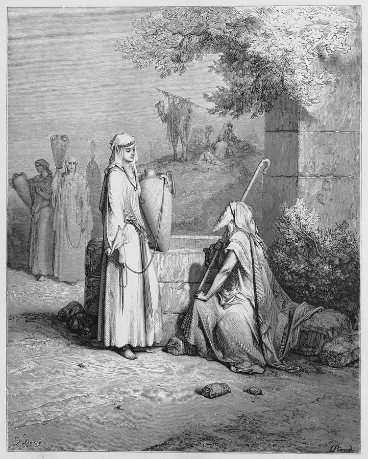 Eliezer en Rebekah royalty-vrije illustratie