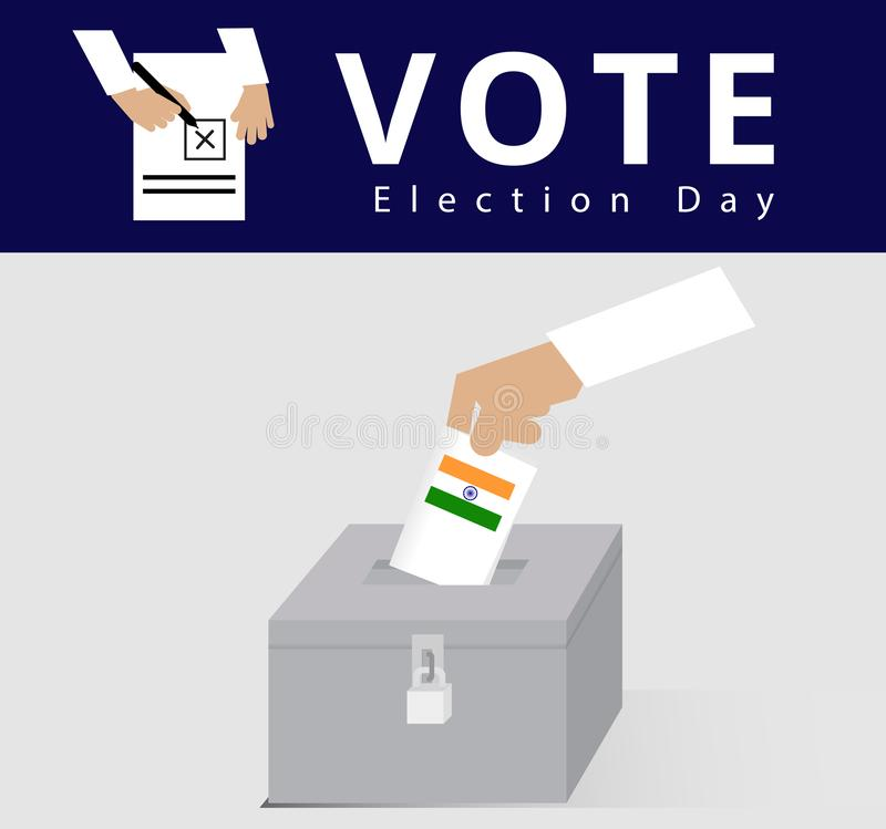 Eligible voter or constituency in locked ballot box for general election day in India, hand of the Indian man dropped the card int. O the case or locked ballot royalty free illustration