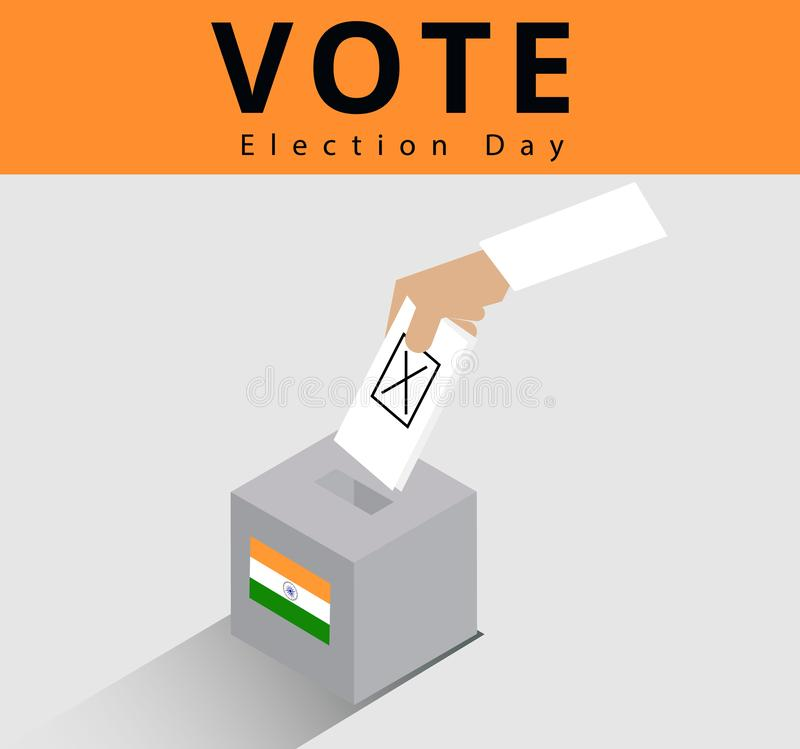 Eligible voter or constituency in locked ballot box for general election day in india, hand of the indian man dropped the card int. O the case or ballot box royalty free illustration
