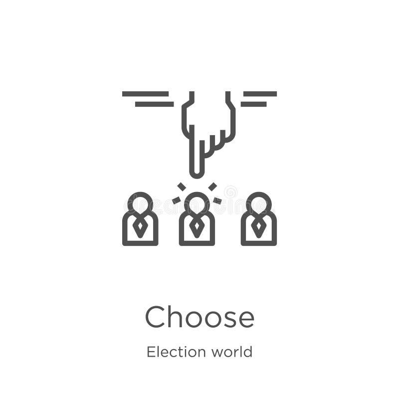 elija el vector del icono de la colección del mundo de la elección La línea fina elige el ejemplo del vector del icono del esquem libre illustration