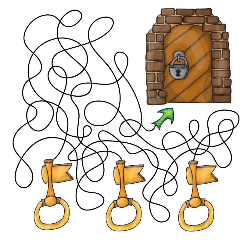 Elija la llave a la puerta - juego del laberinto para los niños ilustración del vector