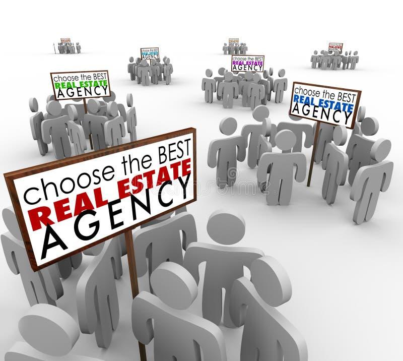 Elija a la mejor gente de la agencia de Real Estate alrededor de agentes de las muestras ilustración del vector