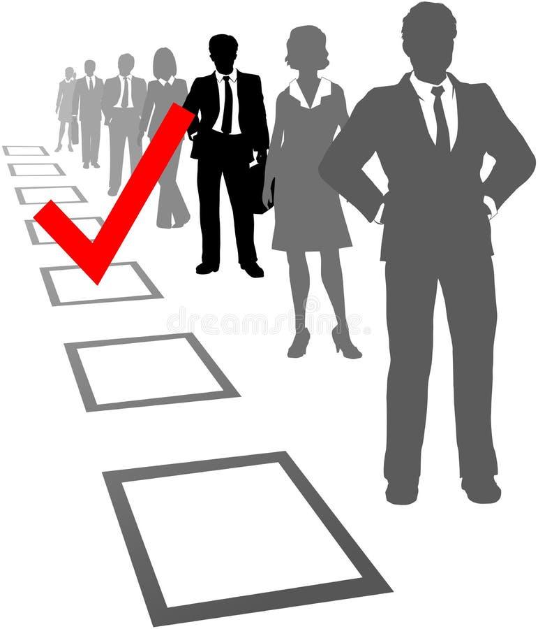 Elija a los hombres de negocios del rectángulo selecto de los recursos libre illustration