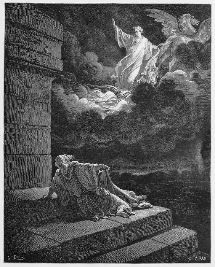 Elija steigt auf Himmel in einem Chariot des Feuers auf stockbilder