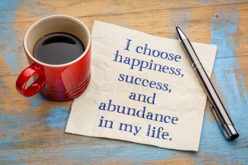 Elijo felicidad en mi vida imagen de archivo