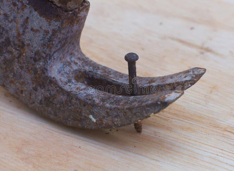 eliminación del clavo con un martillo del moho imagen de archivo