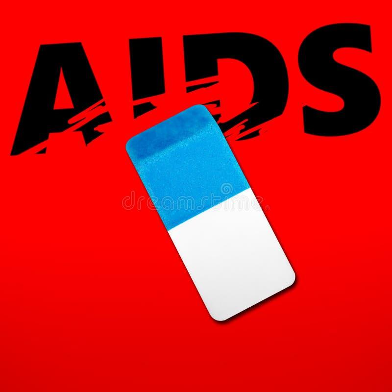 Eliminador que apaga a palavra SIDA fotografia de stock