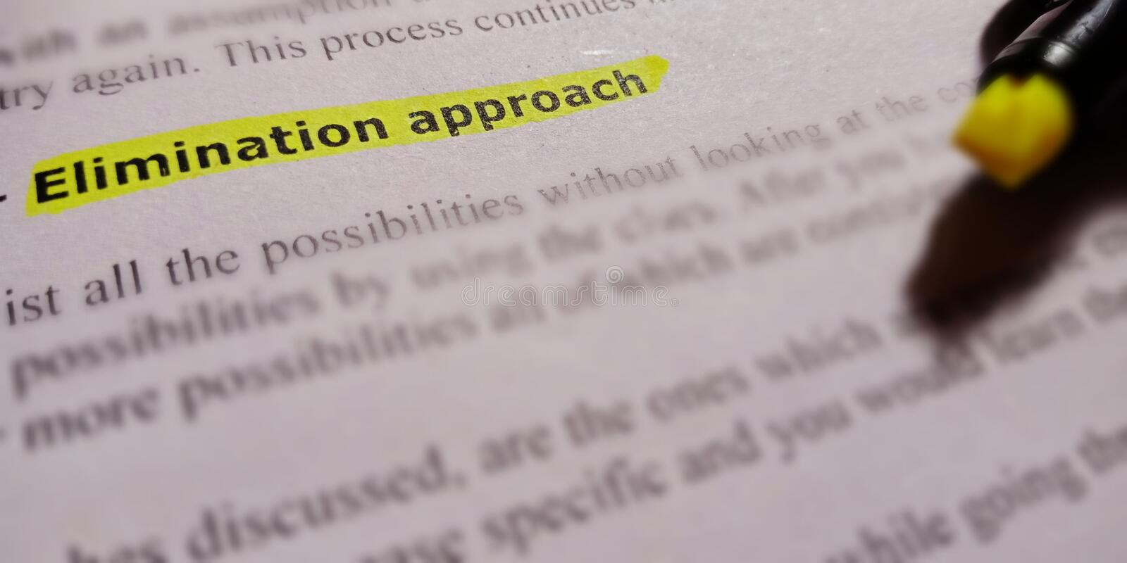 Elimination approach text written on english language with green colour highlighted on white paper sheet royalty free stock photography