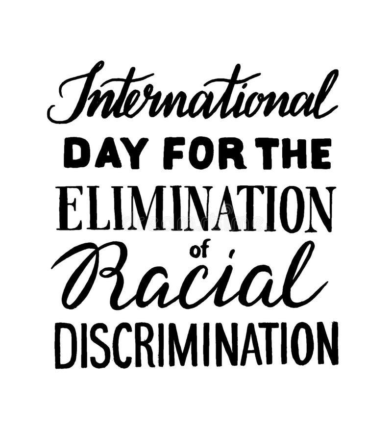 Eliminering av rasdiskriminering vektor illustrationer