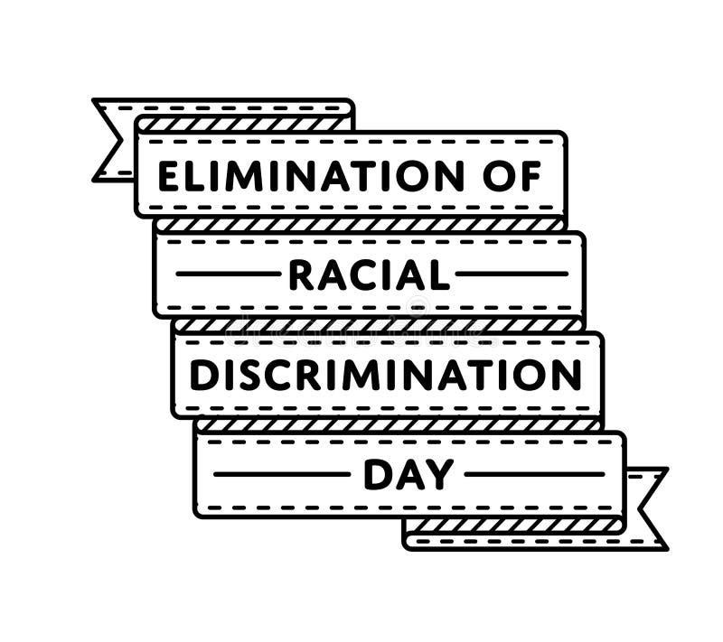 Eliminering av rasdiskrimineringdagemblemet stock illustrationer