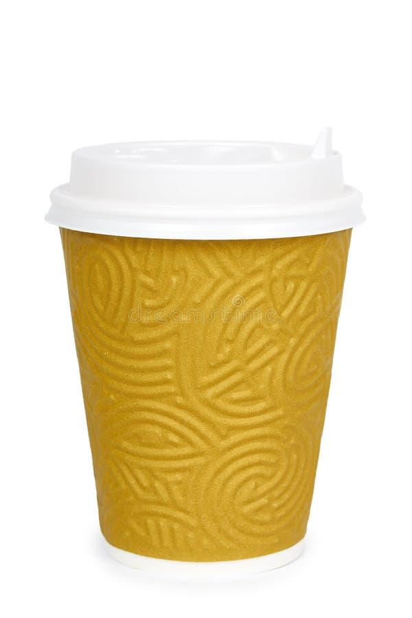 Elimini il caffè in termo tazza Isolato su una priorità bassa bianca Contenitore eliminabile, bevanda calda immagine stock