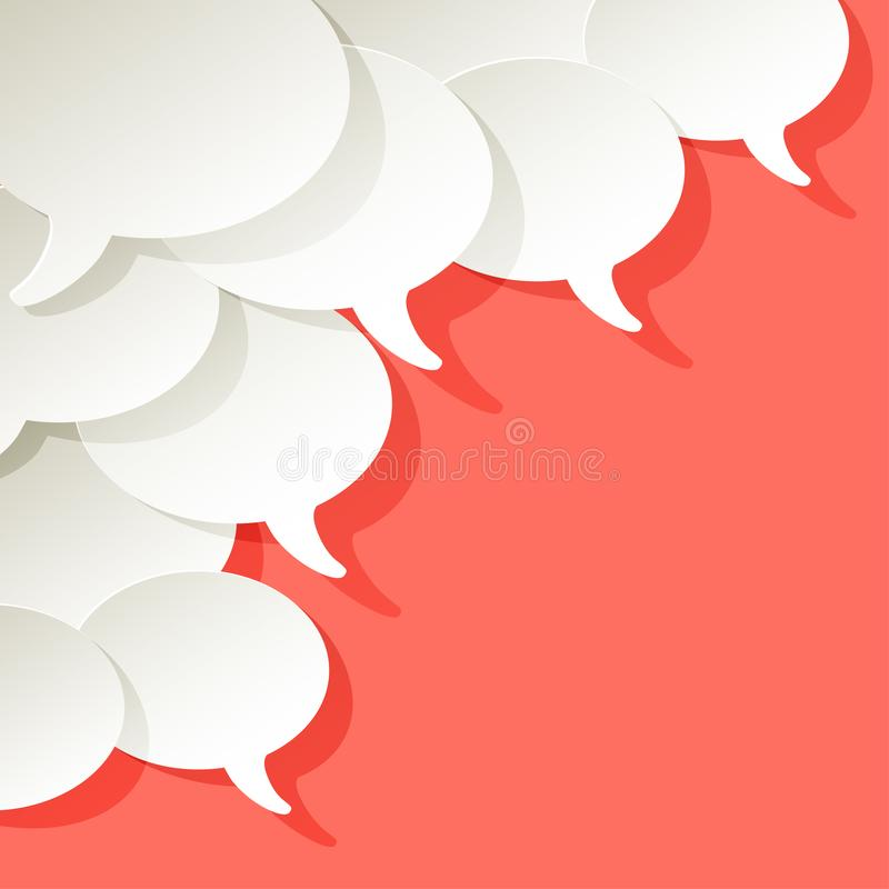 Chat speech bubbles vector ellipse white on a Coral color background in the corner vector illustration