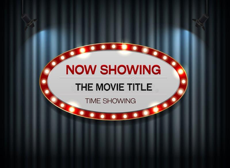 Elipse de la muestra del teatro en la cortina stock de ilustración