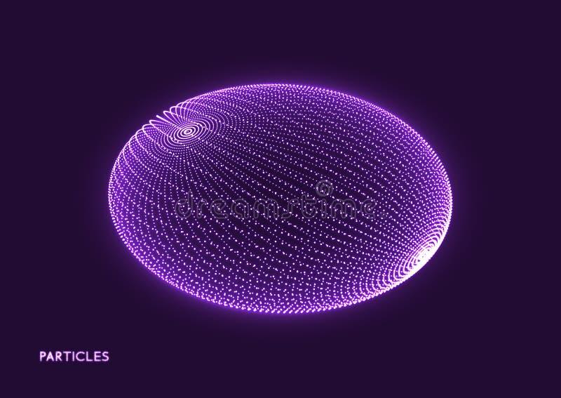 elipse Estructura de la conexión Forma geométrica para el diseño Rejilla molecular en estilo de la tecnología stock de ilustración